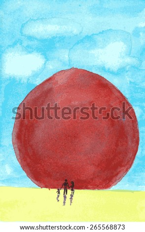 Red sun. Vectorization watercolor illustration.