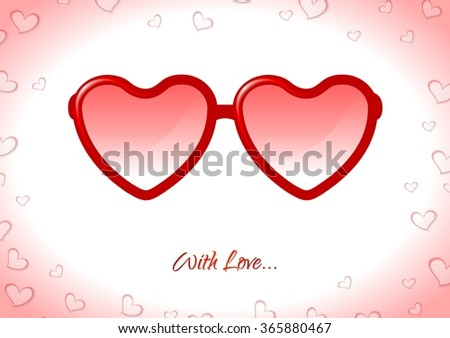 Red sunglasses with heart shapes on white background. Vector illustration for Valentine Day greeting cards, flyers, brochure, web graphic design