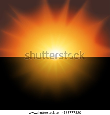 red sunset on a black background vector - stock vector
