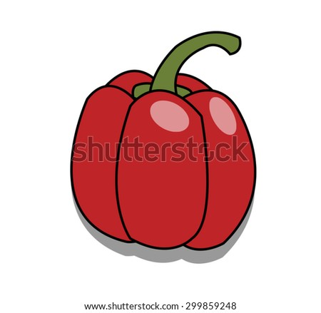 red sweet peppers on white background - stock vector