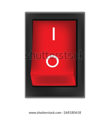 Red switch on button vector, on off button, on icon