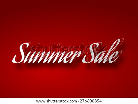 Red table with white SALE text. Vector design elements.