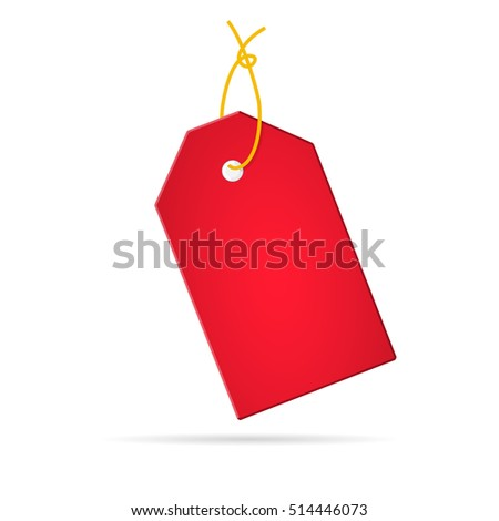 Red tag on a white background.