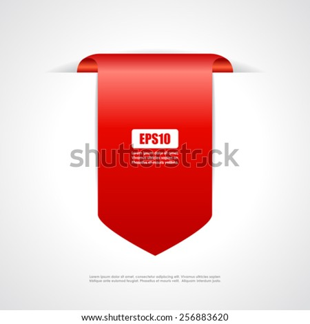 Red tag ribbon - stock vector