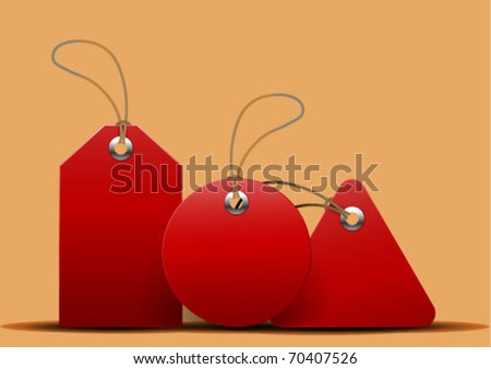 red tags - stock vector