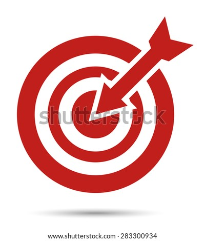 red target icon, with arrow. Aim