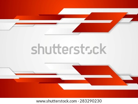 Red tech geometric design. Vector corporate background - stock vector