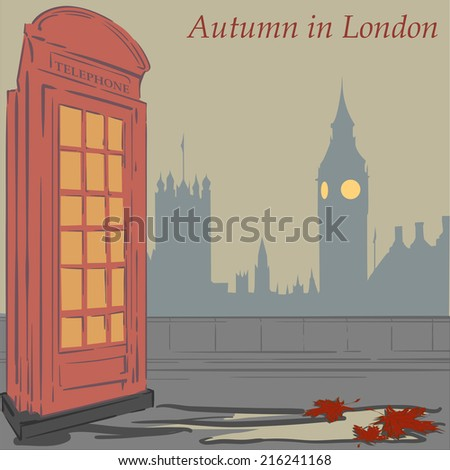 Red Telephone booth - one of most recognizable symbols of London. EPS8 Vector illustration. - stock vector