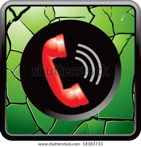 red telephone green cracked web button - stock vector