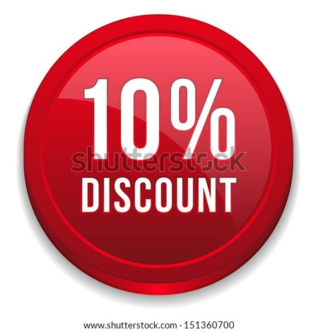 Red ten percent discount button