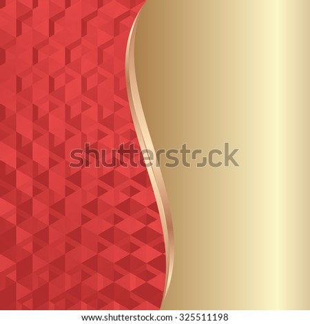 red texture and golden background divided into two - stock vector