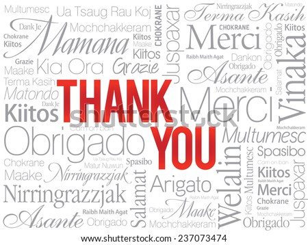 Red Thank You Word Cloud in vector format - stock vector