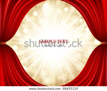 Red theater curtain and light celebration vector background eps 10. - stock vector