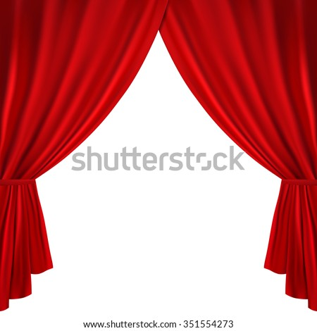 Wonderful Red Theater Curtain On A White Background