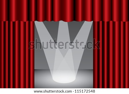 Red theater curtain with spotlight on stage, EPS10 - stock vector