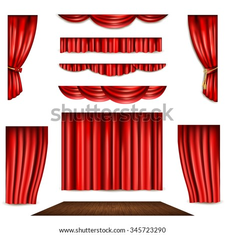 Red theatre curtain in different shape and wooden stage realistic isolated vector illustration  - stock vector