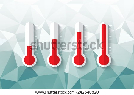 red thermometer with transparency shadow on the blue geometric background - stock vector