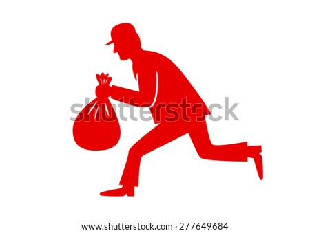 Red thief icon on white background - stock vector