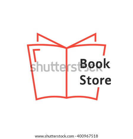 red thin line book store logo. concept of tutorials, bible, paperback, textbook, ebook, encyclopedia, notebook. flat linear style trend modern brand design vector illustration on white background - stock vector
