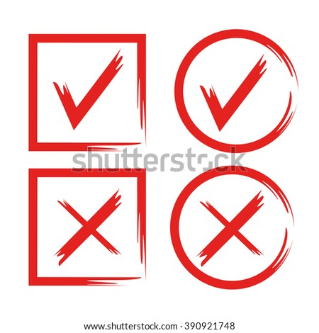 red tick, hand drawn check mark buttons - stock vector