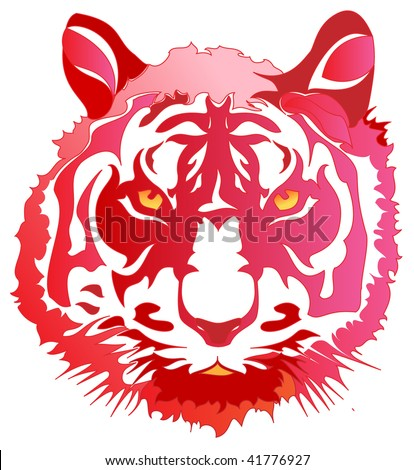 Red tiger - stock vector