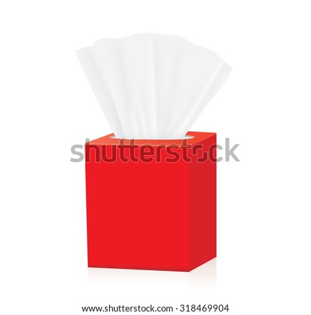 Red Tissue box blank label and no text for mock up packaging - stock vector