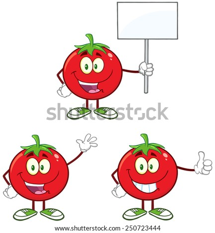 Red Tomato Cartoon Mascot Character Different Interactive Poses 4. Vector Collection Set Isolated On White - stock vector