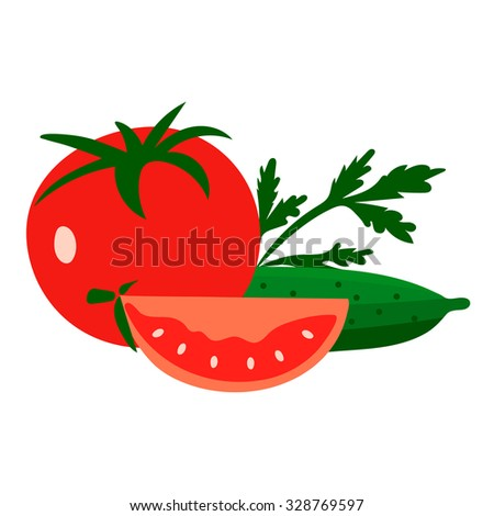 Red tomatoes and ripe cucumbers. Great for design of healthy lifestyle or diet.Vector illustration.