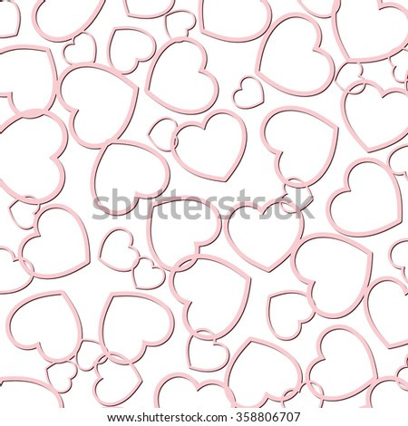 Red tone hearts of the different size are chaotically scattered on a white background.