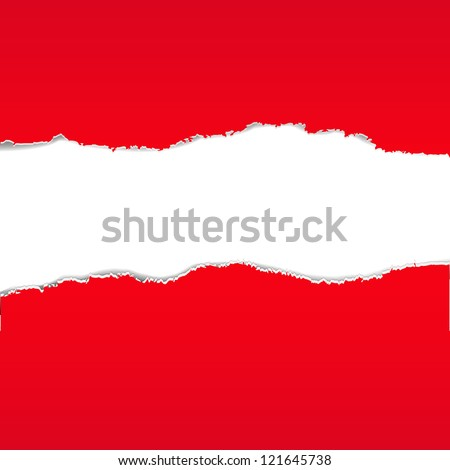 Red Torn Paper Borders Background With Gradient Mesh, Vector Illustration - stock vector