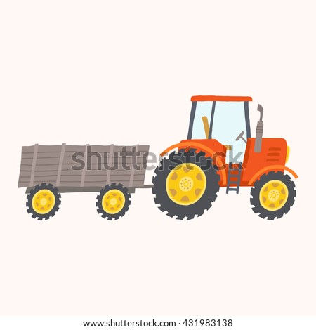 Red tractor with trailer. Toy tractor. Cartoon farm tractor. Vector hand drawn eps 10 illustration isolated on white background. - stock vector