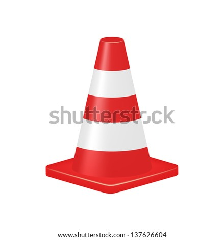 Red traffic cone - stock vector