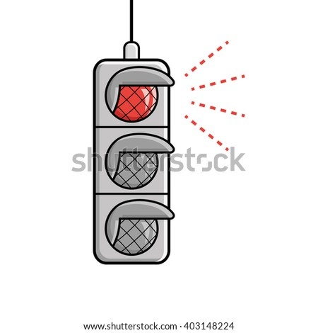 Red traffic light icon. - stock vector