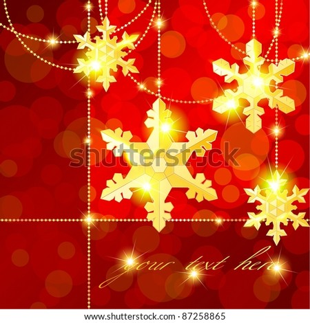 Red transparent banner with snowflake ornaments (eps10);  jpg version also available - stock vector