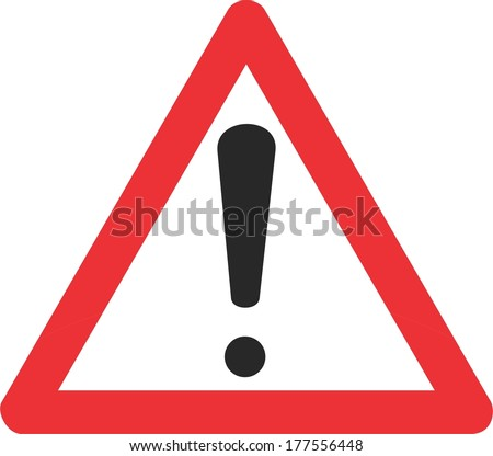Red triangle (Attention sign) with exclamation mark symbol. - stock vector