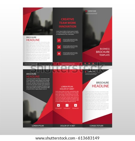 Red triangle business trifold leaflet brochure stock for Red brochure template