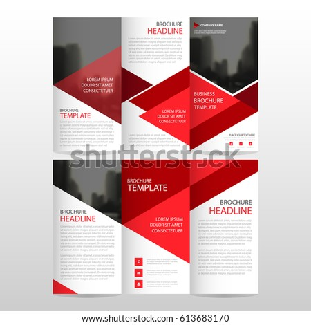 Tri fold brochure template stock images royalty free for Red brochure template