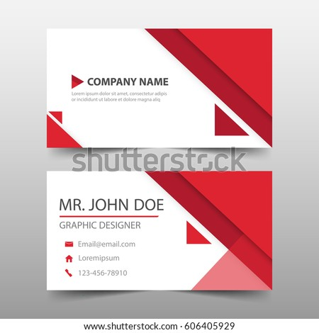 Red Triangle Corporate Business Card Name Stock Vector 606405929 ...