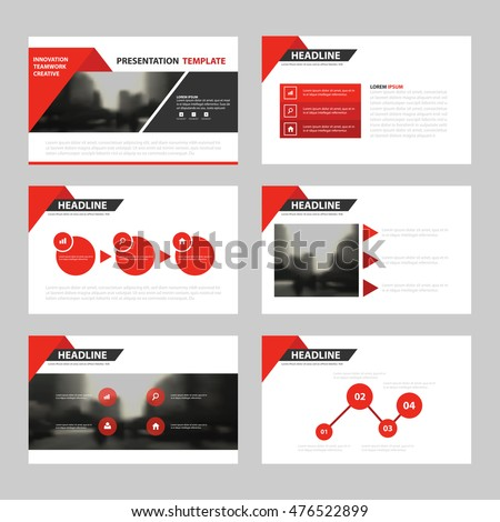 red triangle presentation templates infographic elements stock, Presentation templates
