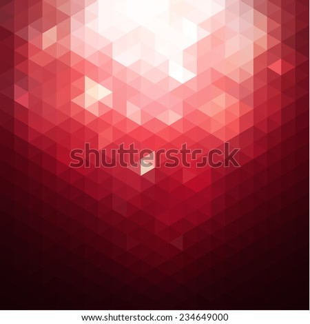 Red triangular background with abstract lights falling - stock vector