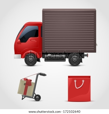 red truck with a gift vector icon xxl - stock vector