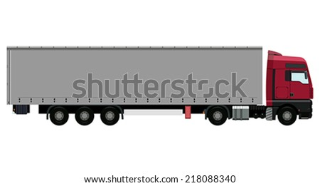 Red truck with trailer on white background - stock vector