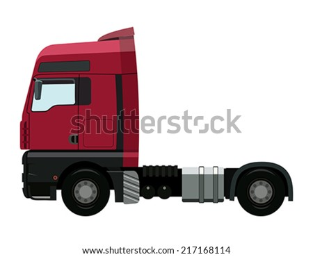 Red truck without a trailer on a white background - stock vector
