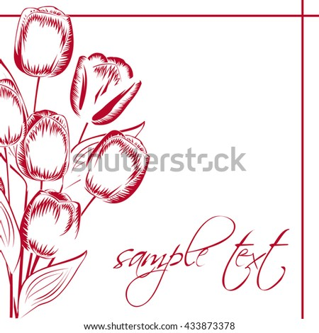 Red tulips silhouette