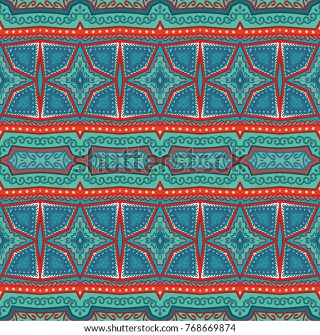 Red- turquoise seamless ornamental vector pattern