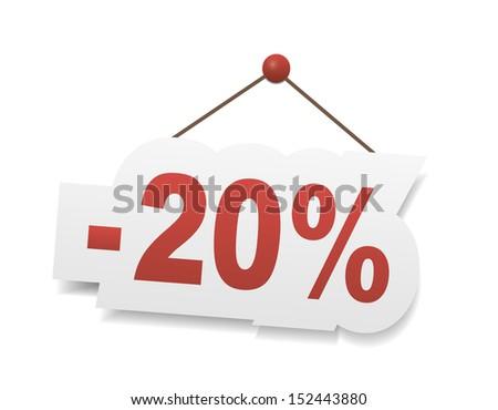 Red twenty percent off. Discount 20%. - stock vector