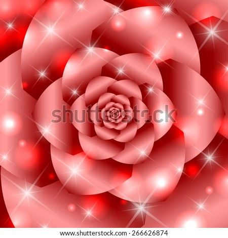 Red twisted and ribbed abstract flower background - stock vector