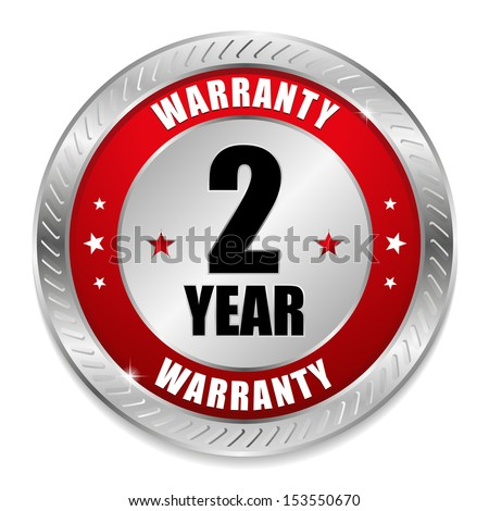 Red two year warranty seal - stock vector