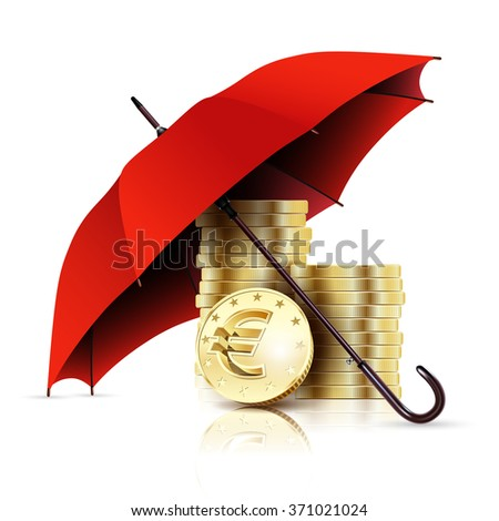 Red Umbrella and Money. Business Concept Euro Coins. Illustration. Vector abstraction.  - stock vector