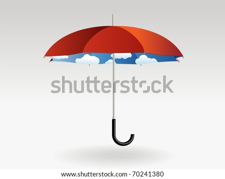 Red umbrella with clouds and blue sky inside on a grey background - stock vector